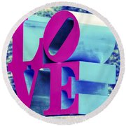 Love Philadelphia Neon Pink Round Beach Towel