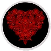 Love Red Floral Heart Round Beach Towel