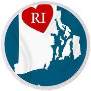 Love Rhode Island White Round Beach Towel