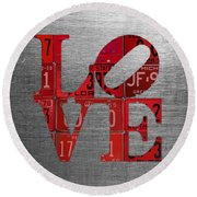 Love Sign Philadelphia Recycled Red Vintage License Plates On Aluminum Sheet Round Beach Towel