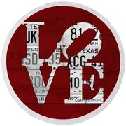 Love Sign Vintage License Plates On Red Barn Wood Round Beach Towel