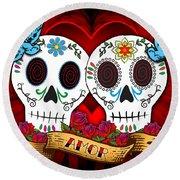 Love Skulls Round Beach Towel by Tammy Wetzel