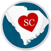 Love South Carolina White Round Beach Towel