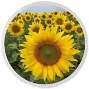 Love Sunflowers Round Beach Towel