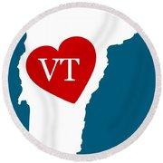 Love Vermont White Round Beach Towel