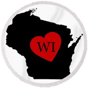 Love Wisconsin Black Round Beach Towel