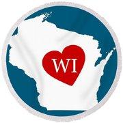 Love Wisconsin White Round Beach Towel