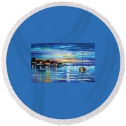 Love With The Sea Round Beach Towel