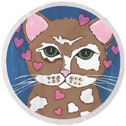 Loveable Cat - Cute Animals Round Beach Towel