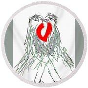 Lovebirds Round Beach Towel