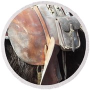 Loved Leather Tack Round Beach Towel
