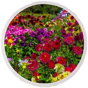 Lovely Dahlia Garden Round Beach Towel