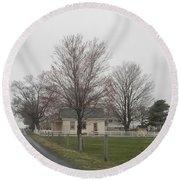 Lovely Day At An Amish Schoolhouse Round Beach Towel