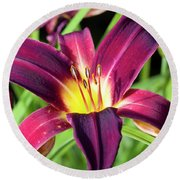 Lovely Day Lily Round Beach Towel