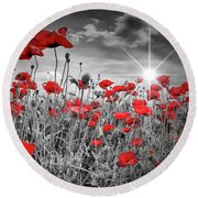 Lovely Field Of Poppies With Sun  Round Beach Towel