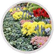 Lovely Flowers In Manito Park Conservatory Round Beach Towel
