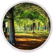Lovely Grouping Of Trees In Mississippi Round Beach Towel