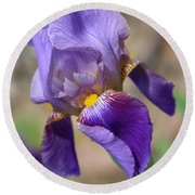 Lovely Leaning Iris Mother's Day Card Round Beach Towel