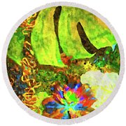Lovely Leaves Round Beach Towel