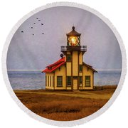 Lovely Point Cabrillo Light Station Round Beach Towel