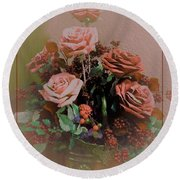 Lovely Rustic Rose Bouquet Round Beach Towel