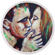 Lovers - Colours And Kisses Round Beach Towel