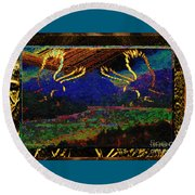 Lovers Dancing In The Golden Light Of Dawn Round Beach Towel