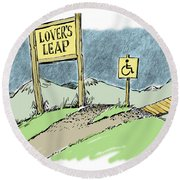 Lover's Leap. Round Beach Towel