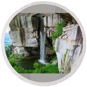 Lover's Leap Waterfall Round Beach Towel