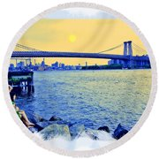 Lovers On The Rocks Round Beach Towel by Madeline Ellis