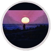 Lovers Sunset Round Beach Towel