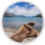 Low Angle View From The Rocky Dart River Bank At Kinloch, Nz Round Beach Towel