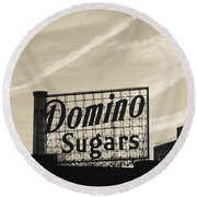 Low Angle View Of Domino Sugar Sign Round Beach Towel