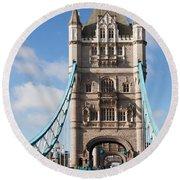 Low Angle View Of Tower Bridge, London Round Beach Towel