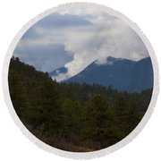 Low Clouds In Ute Pass Colorado Round Beach Towel
