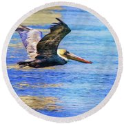 Low Flying Pelican Round Beach Towel