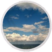 Low Hanging Clouds Round Beach Towel