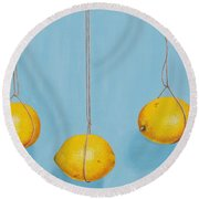 Low Hanging Lemons Round Beach Towel