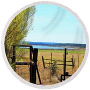 Low Land By The Lake Round Beach Towel