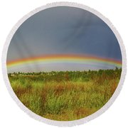 Low Lying Rainbow Round Beach Towel