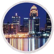 Low Moon Over Louisville Round Beach Towel