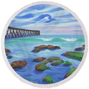Low Tide At Haskell's Beach Round Beach Towel