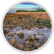 Low Tide At Montauk Point Round Beach Towel