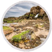 Low Tide At Saddle Rocks Round Beach Towel