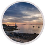 Low Tide At Salem's Lighthouse Round Beach Towel