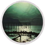 Low Tide By Moonlight Round Beach Towel
