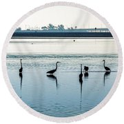 Low Tide Gathering Round Beach Towel