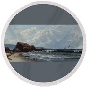Low Tide, Hetherington's Cove, Grand Manan By Alfred Thompson Bricher Round Beach Towel
