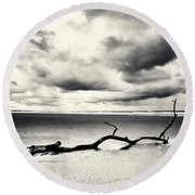 Low Tide, Lindisfarne Round Beach Towel