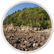 Low Tide Panorama Round Beach Towel